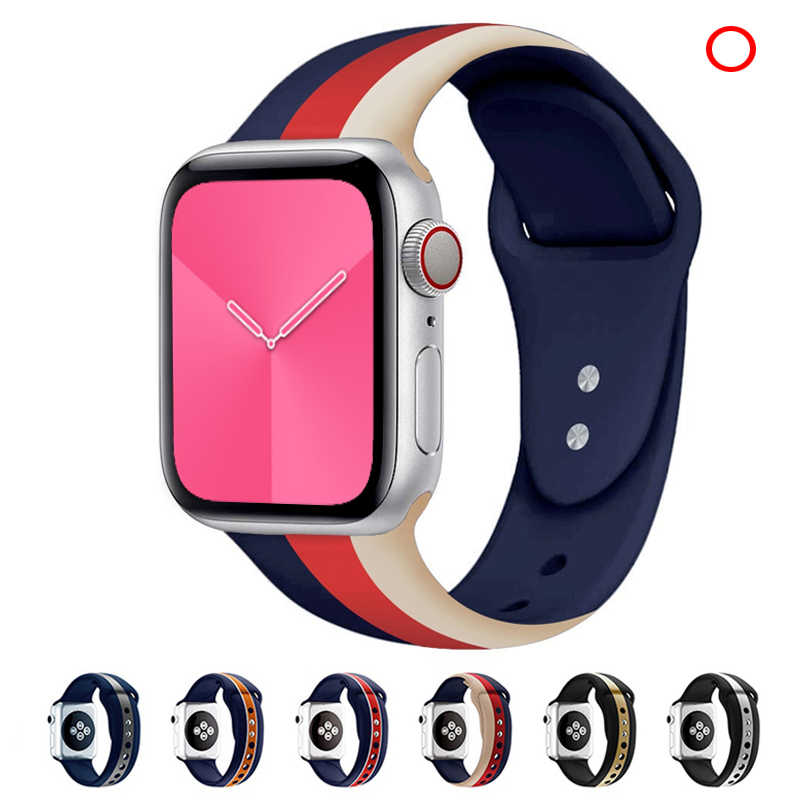 Silicone strap for apple watch band 42mm 38mm 5 4 44mm 40mm iwath 3/2/1 Correa bracelet rubber watchband sport belt Accessories