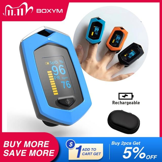 BOXYM רפואי נטענת אצבע דופק Oximeter דיגיטלי Oximetro דה Dedo SpO2 יחסי ציבור OLED CE Pulsioximetro קצב לב צג