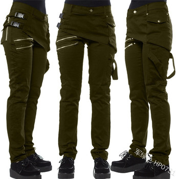 2020 Best-Selling Solid Color Riveting Nail Leggings Snap Fastener Side Release Buckle Slanting Zip Pocket Casual Pants