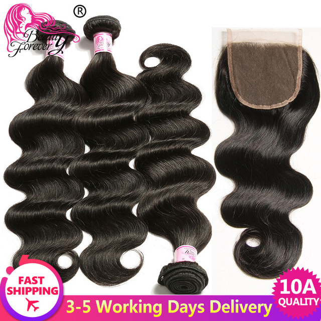 $ US $62.40 Beauty Forever Body Wave Brazilian Hair Weave 3 Bundles With Closure Free Part 100% Remy Human Hair