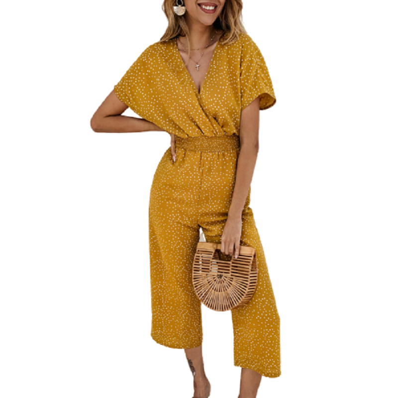 Vintage Polka Dot Bohemian Jumpsuits Short Sleeve Women Summer Wide Leg Jumpsuit Sexy Elastic Waist Print Casual Pocket Overalls