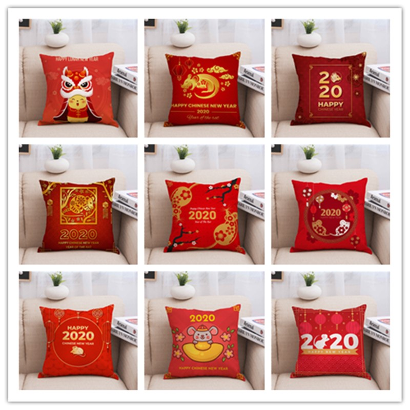 2020 Chinese New Year Mouse Red Pillow Sofa Car Chair Festive Cushion
