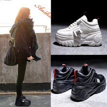 Female Shoes Sneakers High-Platform Spring Black Breathable Casual Fashion Woman Mujer