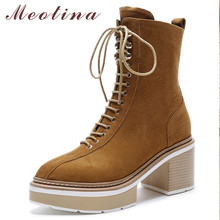 Купить с кэшбэком Meotina Winter Ankle Boots Women Natural Genuine Leather Thick High Heel Short Boots Zip Pointed Toe Shoes Ladies Autumn 34-39