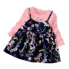Fashion Floral Print Kids Girls Dress Casual Long Sleeve O Neck Mini Dress For Kids Girls Clothing long sleeve floral print mini swing dress