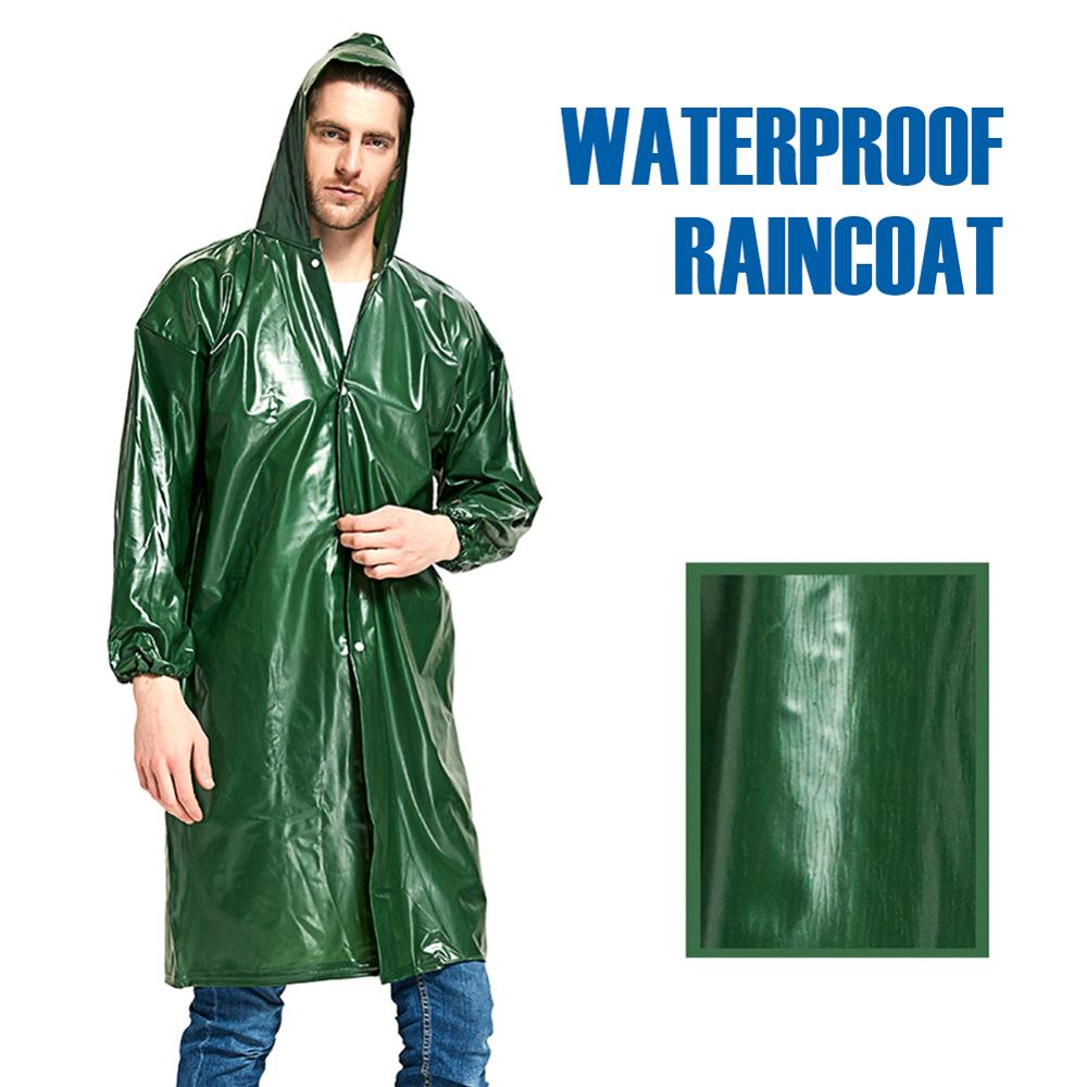 Waterproof Rain Poncho Adults Lightweight Thick Reusable Hooded Raincoat Jacket Cover For Cycling Hiking Outdoor Activities