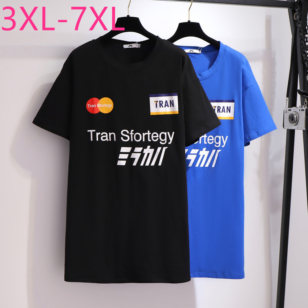New Summer Plus Size Tops For Women Large Loose Casual Short Sleeve Print Cotton O Neck Long T-shirt Blue Black 4XL 5XL 6XL 7XL