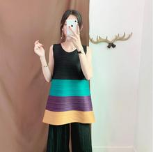 Miyake fold vest classic color matching pleated large size womens sleeveless loose fashion bottoming shirt