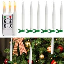 10X 6X Clip On Electronic Candle Light Warm White LED Tea Light Frameless Table Dinner Light Xmas Tree Light 2H To 8H Timing