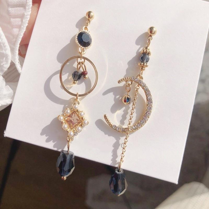 New 2020 sweet shiny crystal geometric circular Drop earrings long asymmetric fine Moon modelling fashion Women earrings