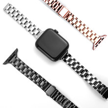 Pulseira para apple watch 6 se cinta 40mm 44mm magro banda de aço inoxidável para iwatch série 5 4 3 38mm 42mm feminino meninas pulseira