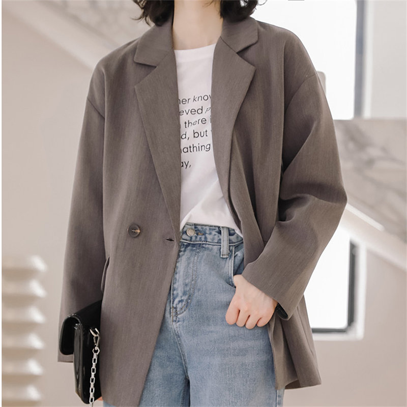 HziriP Chic 2019 High Quality Fashion Solid Students Brief Women All Match Office Lady Casual Women Loose Simple Elegant Blazers
