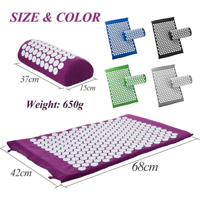 Non-Slip Acupressure Cushion Massage Mat Body Pain Spike Fitness Pilates Exercise Pillow Yoga Mat Gift Bag Applicator 10