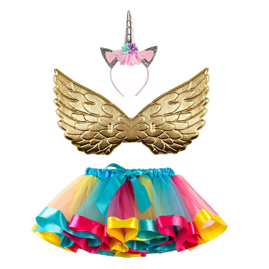 Tutu Skirt + Wing + Horn Headwear Children's Suits Halloween Costumes For Kids Girls New Year Christmas Unicorn Costume