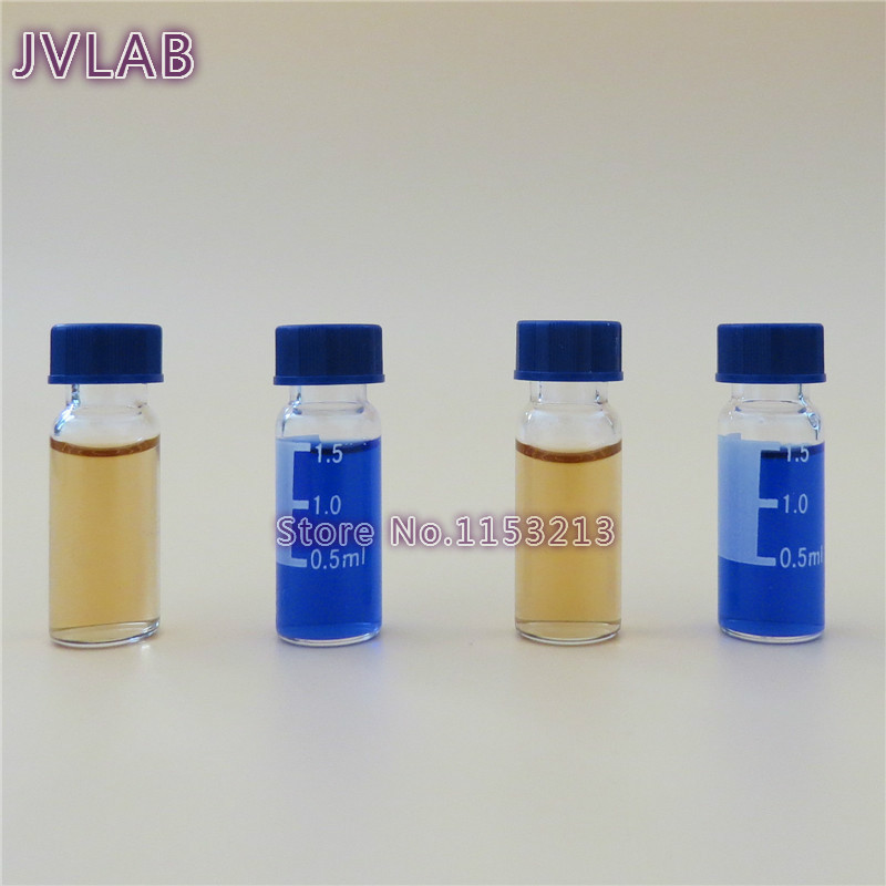 Transparent Chromatography Vial 1.5ml For Agilent With 9mm Lid & Septa Automatic Parse Sample Bottle With Scale 100pcs