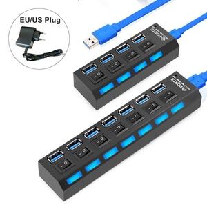 USB 3.0 Hub USB Hub 3.0 Multi USB Splitter 3 Hab 4/7 Port Multiple Expander Use Power Adapter 2.0 USB3 Hub with Switch for PC(China)