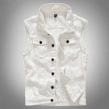 цена 2020 Ripped Jean Jacket Men's White Denim Vest Hip Hop Jean Coats Waistcoat Men Cowboy Brand Sleeveless Jacket Male BIg Size 5XL онлайн в 2017 году