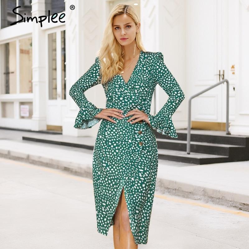 Simplee Vintage polka dot women dress Print v neck ruffle midi summer female vestido Sexy green bodycon ladies party dress festa