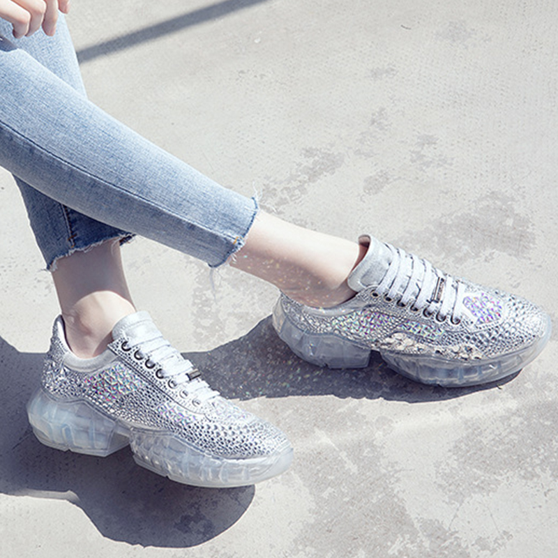 Women Sliver Chunky Sneakers Crystal Bling Casual Shoes Rhinestone Walking Shoes Lace Up Wedge Platform Footwear Trainers Femme