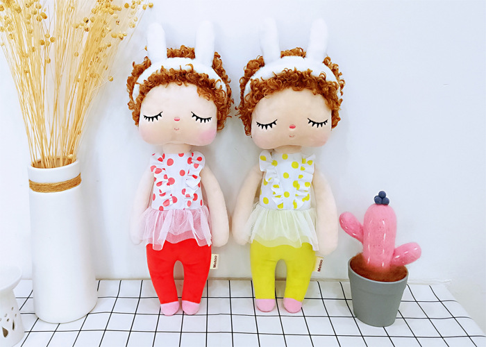 35cm Metoo Curly Angel Plush Stuffed Sweet Rabbit Cute Animals For Kids Toys Angela Doll For Girls Birthday Christmas Gift Dress