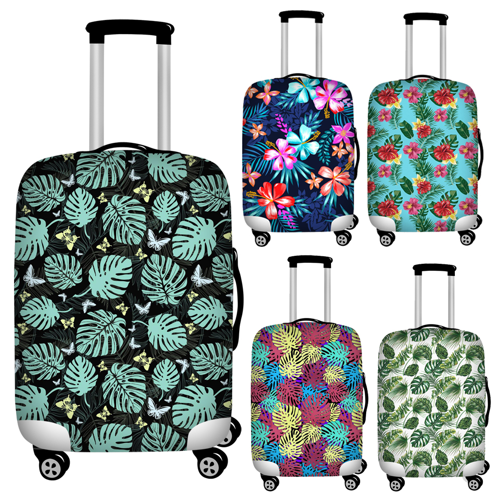 FORUDESIGNS Stretch Tropical Leaves Print Trolley Suitcase Covers Waterproof 18''-32'' Travel Luggage Protective Dust Cover