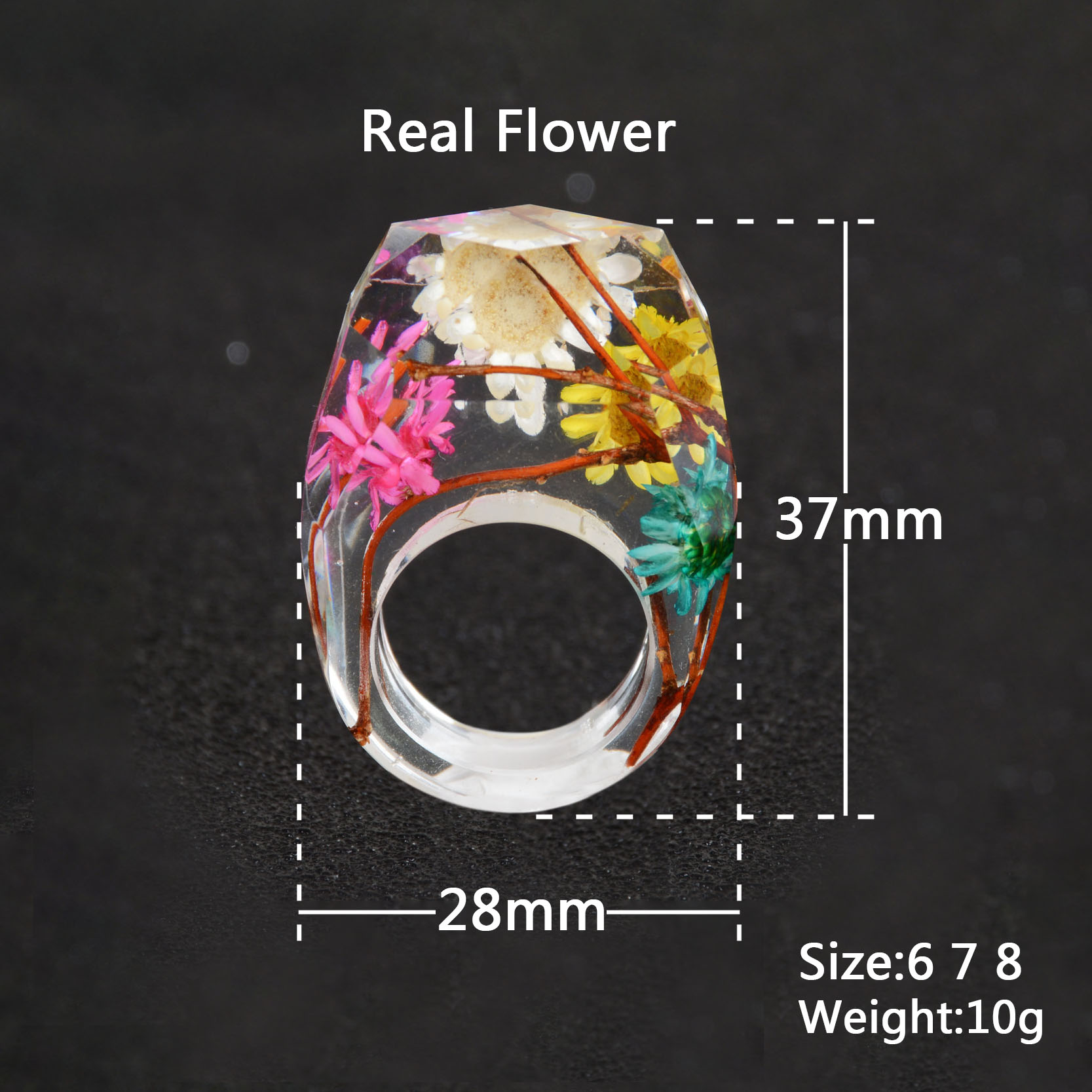 2019 Real Dried Flowers Silver Gold Foil Paper Inside Resin Ring For Women Engagement Party Wedding Bands Finger Rings Jewelry in Rings from Jewelry Accessories