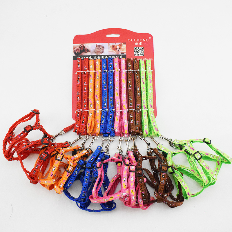 Pet Dog Hand Holding Rope Applique Multi-Colour Printing Chest And Back Printed Cat Rabbit Activity Dog Chain Dog Breast Collar