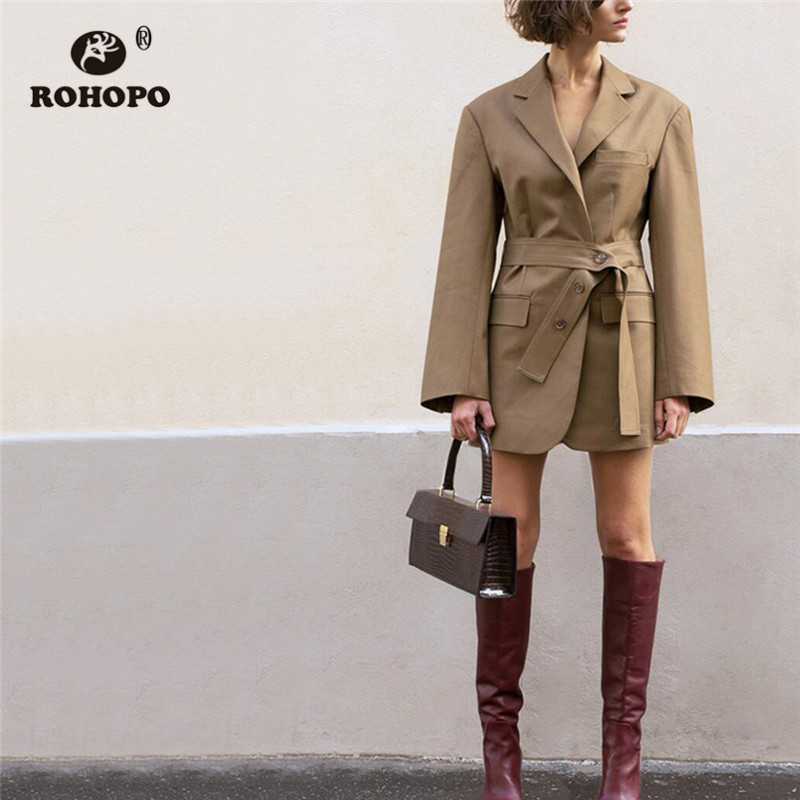 ROHOPO Notched Collar Waistband Side Split Casual Blazer Autumn Ladies Brown Side Flaps Welted Pocket Solid Vintage Outwear #757