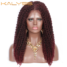 Kalyss 20 Inches Synthetic Pre-Twisted Crochet Hair 4x4 Swiss Lace Front Full Braided Wigs with Baby Hair for Women