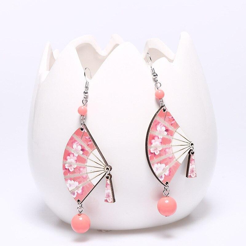 8Seasons Fashion Wood Fan-Shaped Floral Pattern Drop Earrings For Women Party Acrylic Beads Tassel Long Dangle Earrings Jewelry