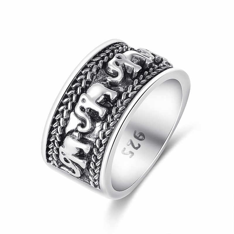 PUNK Gold Silver แหวนผู้หญิงผู้ชายที่ไม่ซ้ำกัน Carver Hollow แหวนช้างโบราณเครื่องประดับของขวัญ