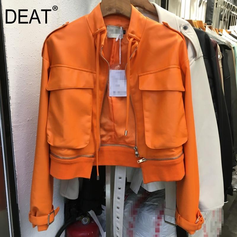 DEAT nouveau automne hiver mode décontracté à manches longues couleur unie cousu fermeture éclair mince en cuir manteau femmes court veste en cuir synthétique polyuréthane SG300