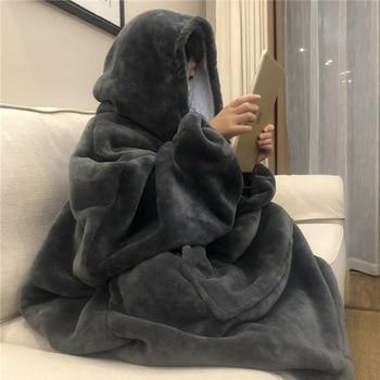 Winter Warm TV Hooded Blankets Sofa Cozy Coral Fleece Hoodie Blanket Adults Kids Bathrobe Weighted Blanket with Sleeves Outwears