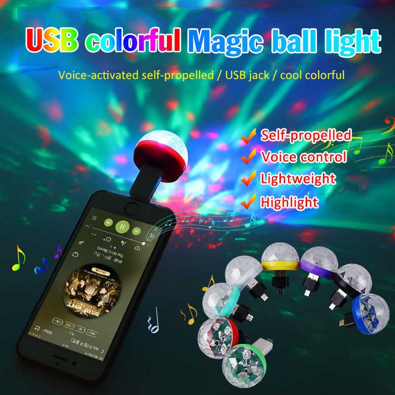 Mini USB RGB LED scena dyskoteki żarówka DJ kryształowe magiczne światło strona główna neon Party magiczna kula efekt sceniczny lampa na telefon komórkowy