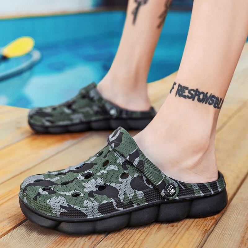 Летняя обувь унисекс высокого качества из ЭВА пластика; мужские сандалии; классические камуфляжные мужские мягкие пляжные сандалии; шлепан...