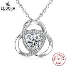 цена Eudora Sterling Silver 925 Unique Forever love Pendant Necklace with AAA Crystal Zircon Fine jewelry for Women Birthday gift D94 в интернет-магазинах