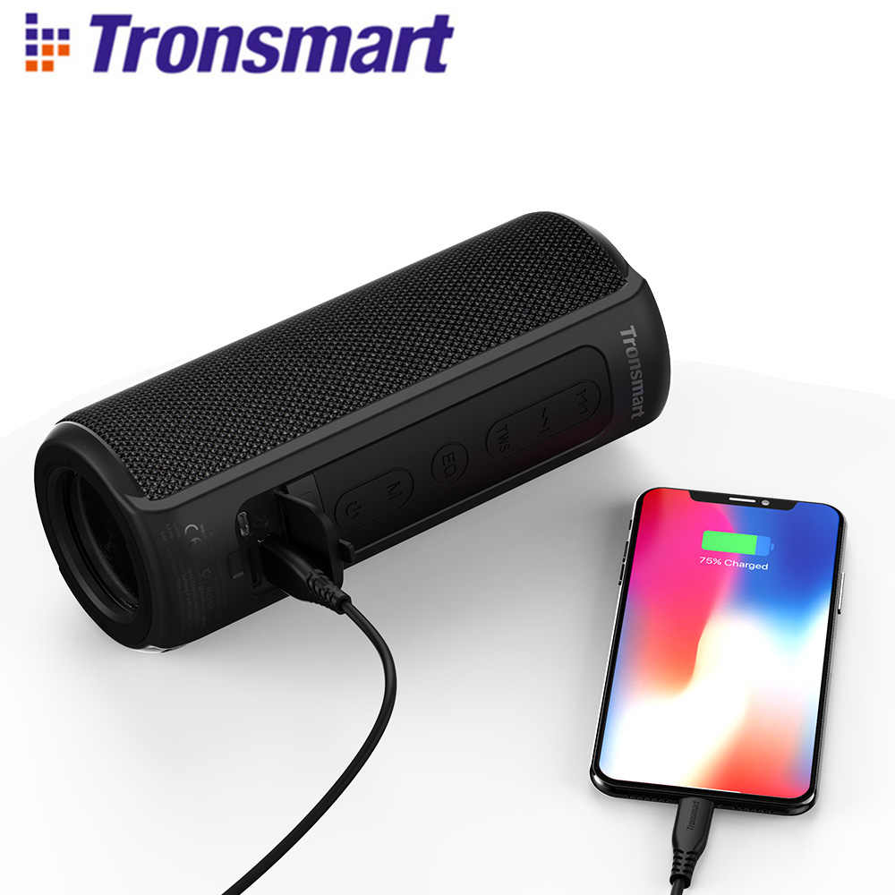 Tronsmart T6 Plus Bluetooth Speaker 40W Portable Speaker Colums Tri-Efek Bass dengan IPX6 Tahan Air, Tws, untuk Siri, Soundpulse