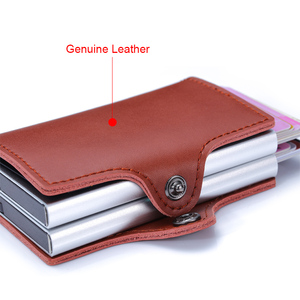 Image 5 - Genuine Leather Men Women Credit Card Holder Security Wallet Big Metal Rfid Blocking Double Box Creditcard Case Bag Protection