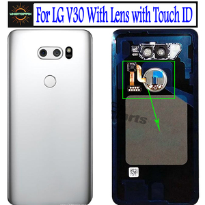 Original for Lg V30 Battery Cover Door Case Housing with Camera Lens Glass Touch ID Replacement for LG V30 Back Cover Back Glass
