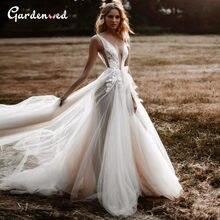 Sexy Vneck Illusion Wedding Dress Boho A-Line V-Neck Tulle Bridal Dress Backless Lace Wedding Gowns 2020 Appliques Bride Dress