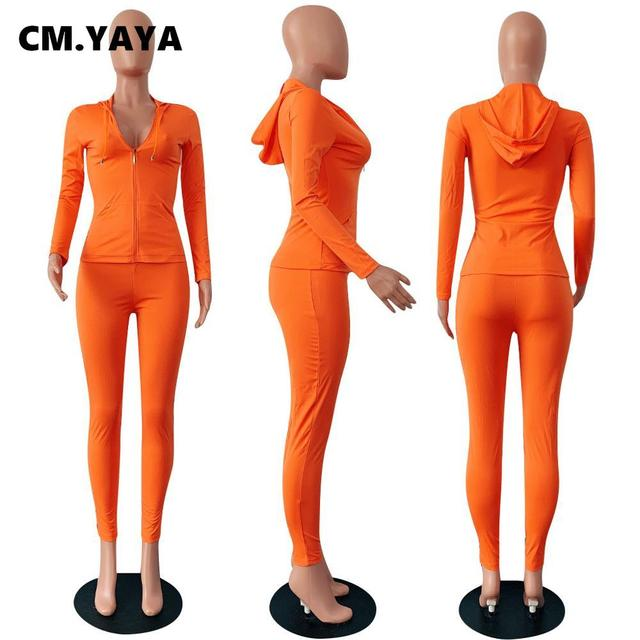 CM.YAYA autumn Women Solid zipper up long sleeve hooded top pencil pants suit two piece set casual sporting tracksuit outfit 2