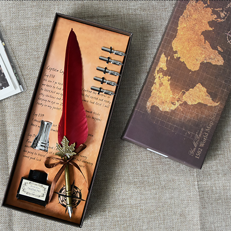 Retro Feather Dip Pen Set Metal Fountain Quill Pen Gift Box English Calligraphy Pen Souvenir Student Office School Supplies