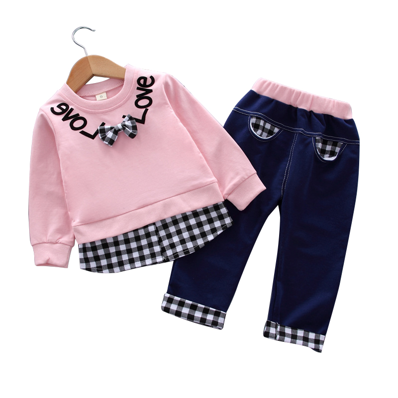 Baby girl clothes spring and autumn cotton suit 0-4 years old girl plaid letter printed sweater baby girl clothes two-piece suit