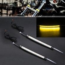 2PCS Motorcycle Amber LED Fork Turn Signal Light Strip For Off-road Motorbike ATV 39mm-41mm Forks 12-15V DC