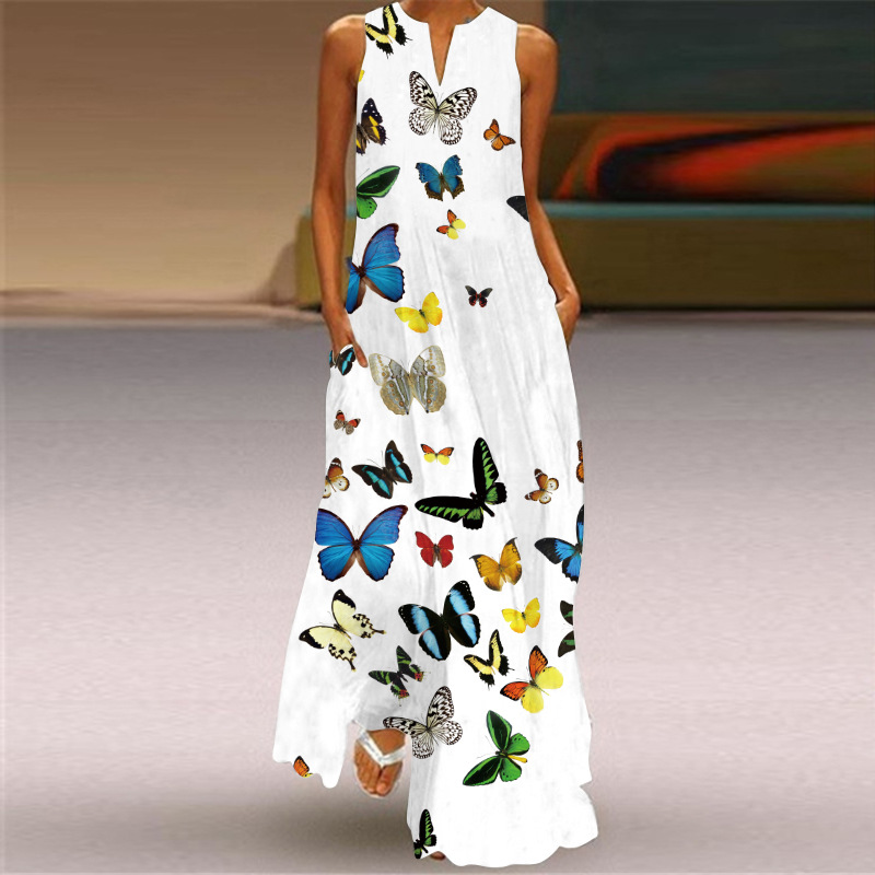 MOVOKAKA New White Dress 2021 Casual Plus Size Sleeveless Long Dresses Summer Woman Butterfly Print Girls Beach Maxi Dress Women