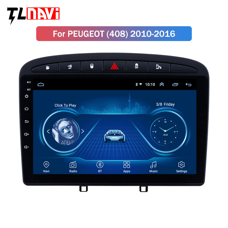 IPS 2.5D Screen 9 inch Android 8.1 Car Stereo for 2010-2016 <font><b>PEUGEOT</b></font> <font><b>308</b></font> 408 <font><b>GPS</b></font> Navigation image