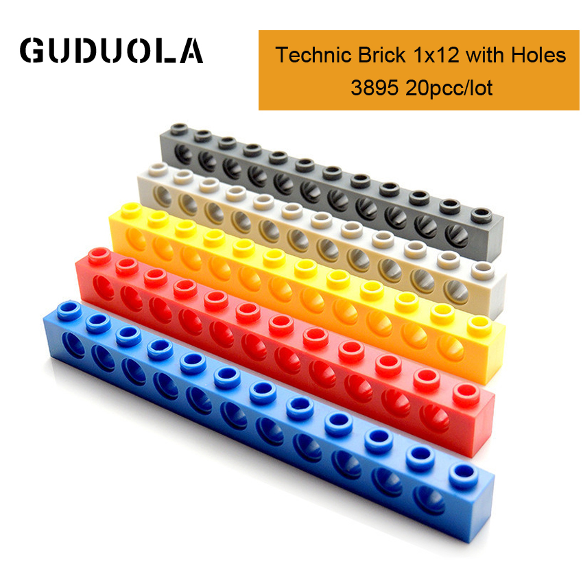 Technic Parts 3895 Technic Brick 1x12 with Holes Building Block MOC Parts Creative Toys Compatible All Brand 20pcs/lot image
