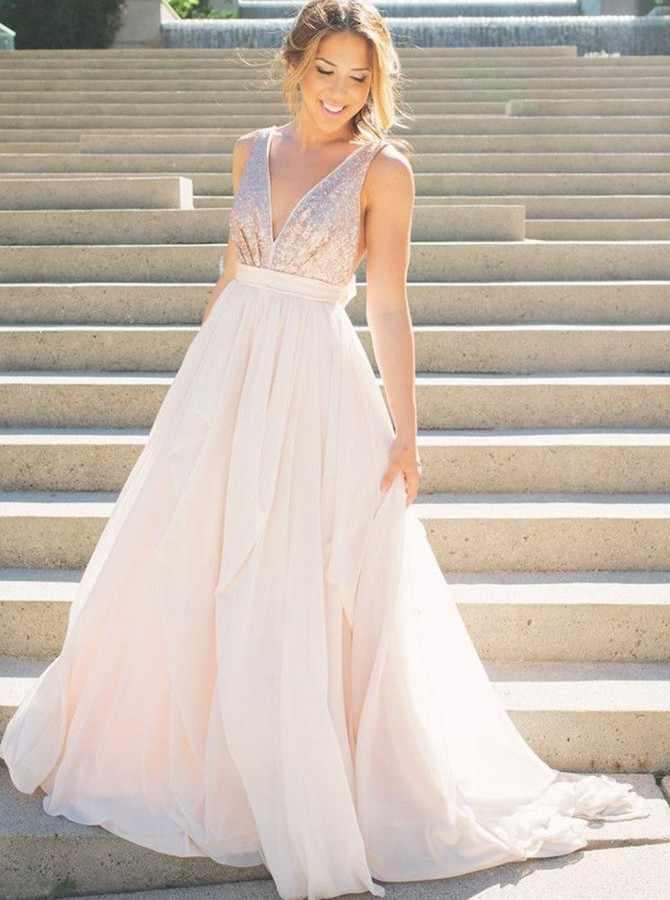 A-Line Tiefem V-ausschnitt Sweep Zug Perle Rosa Chiffon Backless Lange Prom Kleid mit Pailletten
