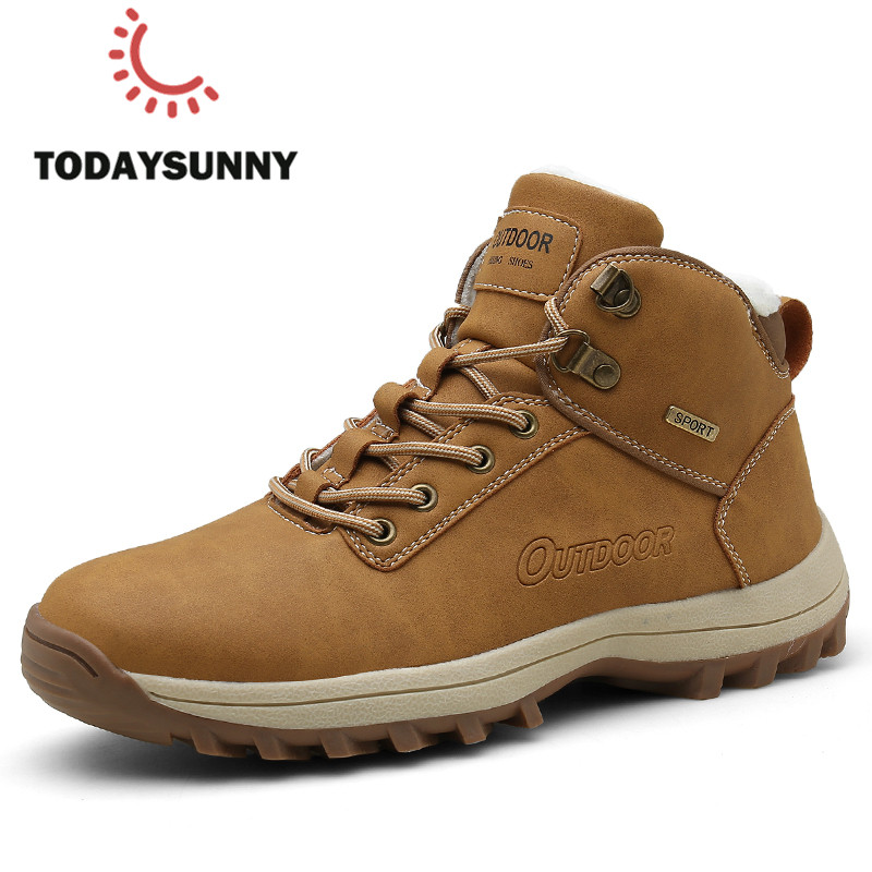 Men Boots Big Size 36-48 Winter Men Warm Lamb Plush Boots Lace Up Outdoor Mountain Men Shoes Waterproof Safty Shoes Men Boots