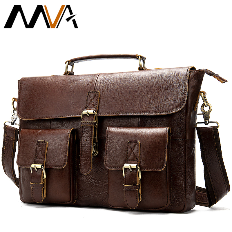 Mva Briefcase Male Messenger Bag Men's Genuine Leather Laptop Bags For Men Business Casual Soft Handle 14 Inches Shoulder Bags